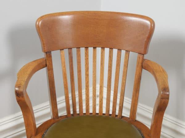 Antique Edwardian Oak & Green Leather Revolving Office Desk Arm Chair (Circa 1910)- yolagray.com