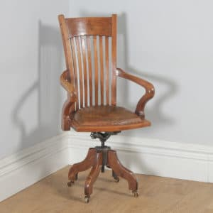 Antique English Edwardian Walnut & Tan Brown Leather Revolving Office Desk Arm Chair (Circa 1910)- yolagray.com