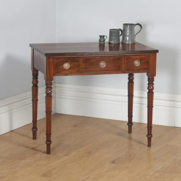 Antique English Georgian Mahogany Occasional Side Hall Writing Table (Circa 1820)- yolagray.com