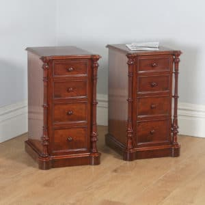 Antique English Victorian Flame Mahogany Bedside Chests Nightstands (Circa 1850) - yolagray.com