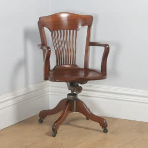 Antique English Edwardian Mahogany Revolving Office Desk Arm Chair (Circa 1910) - yolagray.com