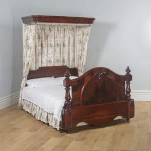 Antique English Victorian Flame Mahogany 5ft King Size Half Tester Bed (Circa 1850) - yolagray.com