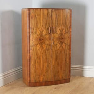 Antique English Art Deco Figured Walnut Bow Front Two Door Compactum Wardrobe (Circa 1930) - yolagray.com