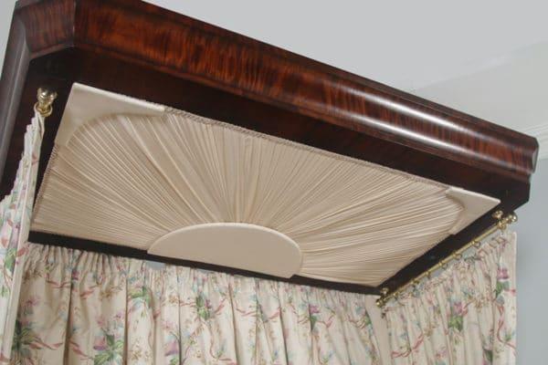 Antique English Victorian Flame Mahogany 5ft King Size Half Tester Bed (Circa 1850) - yolagray.com