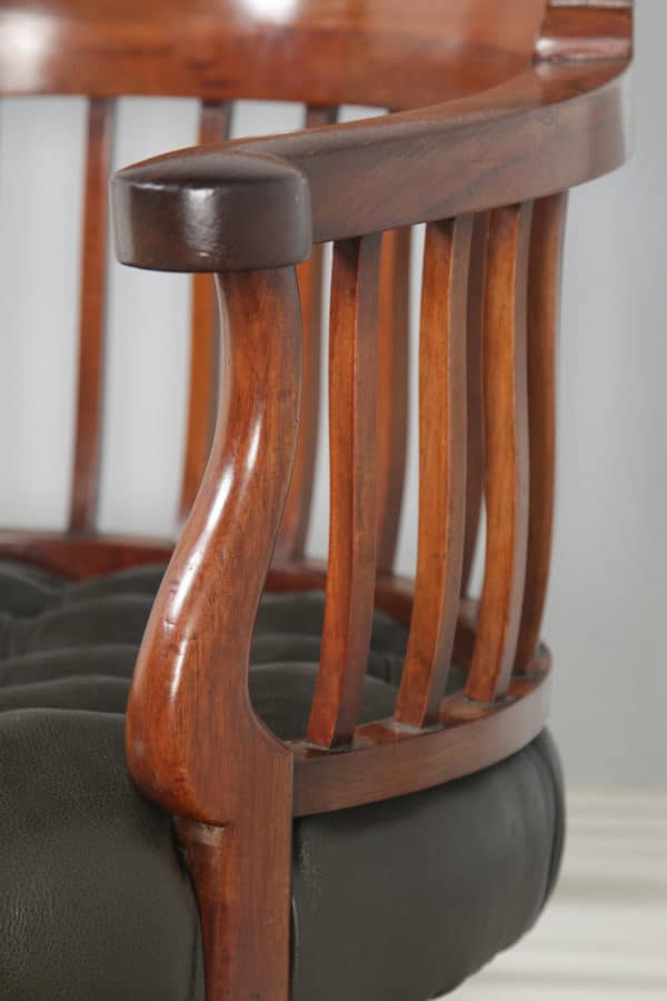 Antique English Victorian Mahogany & Dark Green Leather Revolving Office Desk Arm Chair (Circa 1880) - yolagray.com