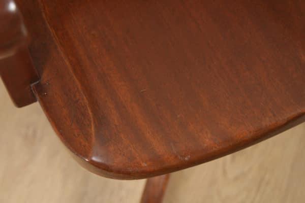 Antique English Edwardian Mahogany Revolving Office Desk Arm Chair (Circa 1910) - yolagray.com
