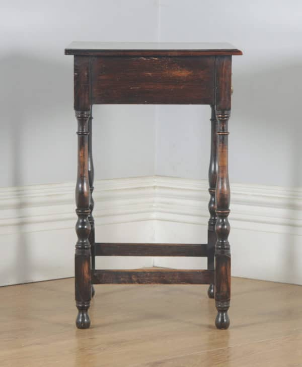 Antique English Georgian Style Oak Country Side Table (Circa 1880)- yolagray.com