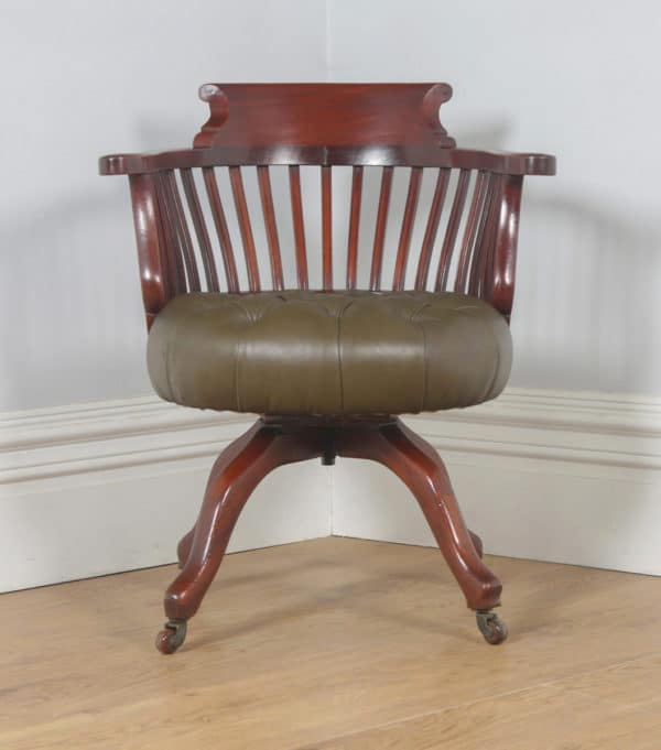 Antique English Victorian Mahogany & Green Leather Revolving Office Desk Arm Chair (Circa 1880) - yolagray.com