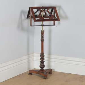 Antique English William IV Rosewood & Brass Adjustable Lyre Duet Music Stand (Circa 1835) - yolagray.com