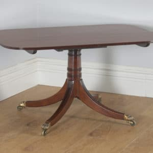 Antique English Georgian Regency Mahogany Tilt Top Rectangular Breakfast Dinging Table (Circa 1830)- yolagray.com