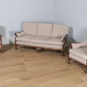 Antique English Edwardian Oriental Chinoiserie Style Three Piece Mahogany & Cane Bergere Lounge Suite (Circa 1900) - yolagray.com