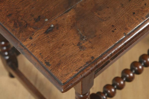 Antique English 17th Century Charles II Country Oak Occasional Hall Side Table (Circa 1680) - yolagray.com