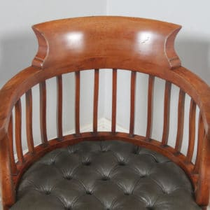 Antique English Victorian Mahogany & Dark Green Leather Revolving Office Desk Arm Chair (Circa 1880) - yolagray.com