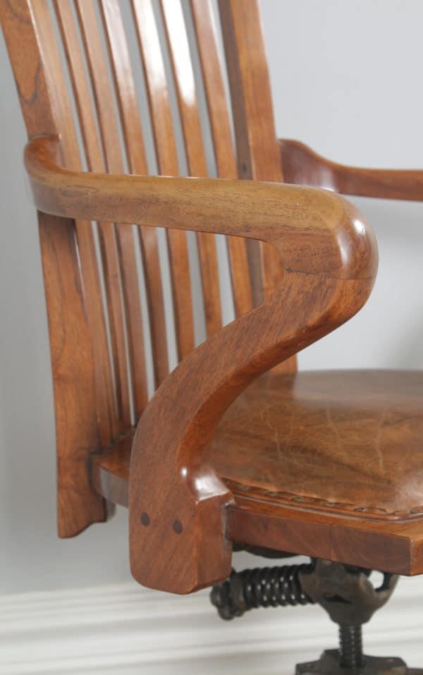 Antique English Edwardian Walnut & Tan Brown Leather Revolving Office Desk Arm Chair (Circa 1910)- yolagray.com