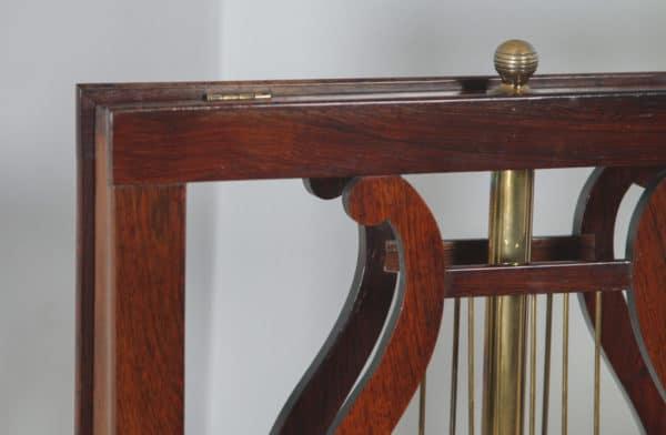 Antique English William IV Rosewood & Brass Adjustable Lyre Duet Music Stand (Circa 1835) - yolagray.com
