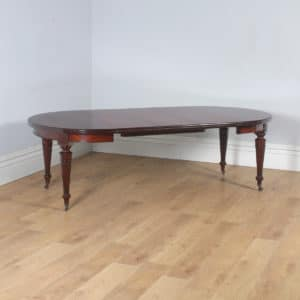 Antique English Victorian Mahogany Round Extendable 8 Seat Dining Table (Circa 1890) - yolagray.com