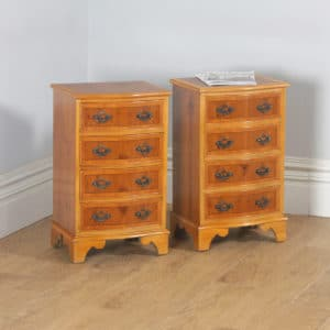Pair of Georgian Style Yew & Walnut Serpentine Bedside Chests of Drawers Nightstands Tables (Circa 1970) - yolagray.com