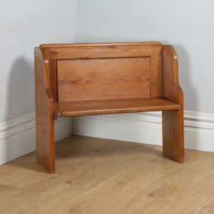 Antique English Victorian 3ft 3″ Pitch Pine Church Kitchen Hall Bench Pew (Circa 1870) - yolagray.com
