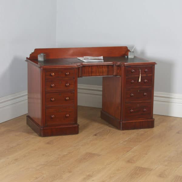 """Antique Victorian Mahogany & Green Leather 4ft 6"""" Breakfront Knee Hole Office Pedestal Writing Desk (Circa 1870) - yolagray.com"""