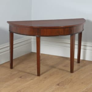 Antique English Georgian Mahogany Demi Lune Console Side Hall Table (Circa 1790) - yolagray.com