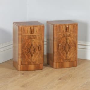 Antique English Pair of Art Deco Burr Walnut Bedside Cupboards Tables Nightstands (Circa 1930) - yolagray.com