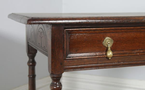 Antique English 19th Century George III Oak Occasional Side Hall Writing Table (Circa 1820) - yolagray.com