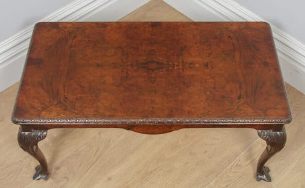 Antique English Queen Anne Style Carved Burr Walnut & Glass Rectangular Coffee Table (Circa 1920) - yolagray.com