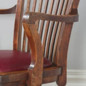 Antique English Edwardian Oak & Burgundy Red Leather Revolving Office Desk Arm Chair (Circa 1910) - yolagray.com