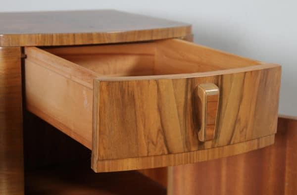 Antique English Pair of Art Deco Burr Walnut Bedside Cupboards Tables Nightstands (Circa 1930) - yolagray.com