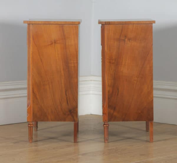 Pair of French Neoclassical Style Burr Walnut Bedside Cabinet Tables Nightstands by Bevan Funnell / Reprodux (Circa 1960) - yolagray.com