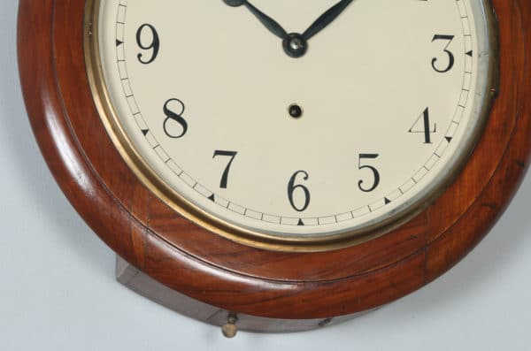 "Antique 16"" Mahogany Anglo Swiss Railway Station / School Round Dial Wall Clock (Timepiece) - yolagray.com"