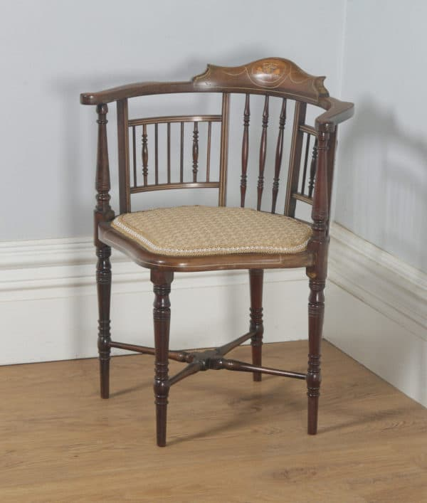 Antique English Edwardian Mahogany Inlaid Satinwood Marquetry Salon Corner Arm Chair (Circa 1900) - yolagray.com