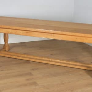 """Vintage Welsh 8ft 10"""" Solid Oak Farmhouse Kitchen Refectory Dining Table (Circa 1980) - yolagray.com"""