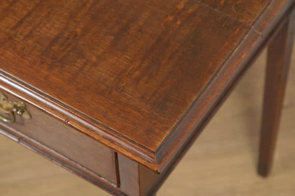 Antique English Georgian Oak Occasional Hall Writing Lowboy Side Table (Circa 1800) - yolagray.com