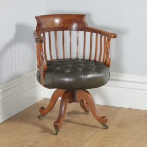 Antique English Victorian Oak & Green Leather Revolving Office Desk Arm Chair (Circa 1880) - yolagray.com