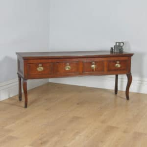 "Antique English Georgian Oak 6ft 3"" Four Drawer Low Dresser Base Sideboard (Circa 1780) - yolagray.com"