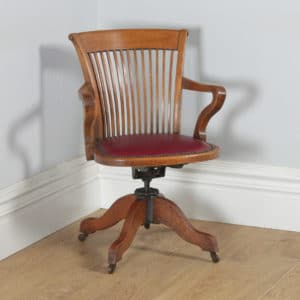Antique English Edwardian Oak & Burgundy Red Leather Revolving Office Desk Arm Chair by Phillips & Sons of Bristol (Circa 1910) - yolagray.com