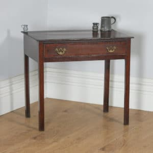 Antique English 18th Century Georgian Oak & Mahogany Occasional Side Hall Writing Table (Circa 1790) - yolagray.com