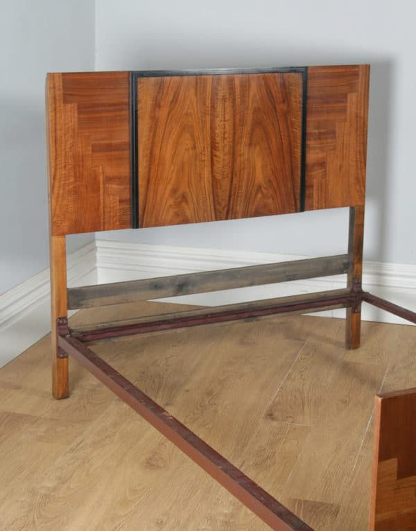 "Antique English Art Deco Figured Walnut 4ft 6"" Double Size Bed (Circa 1930) - yolagray.com"