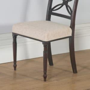 Antique English Pair of Two Georgian Regency Mahogany Bar Back Dining Side Chairs (Circa 1820) - yolagray.com