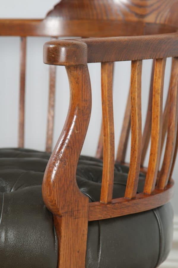 Antique English Victorian Oak & Green Leather Revolving Office Desk Arm Chair (Circa 1880) - yolagray.com