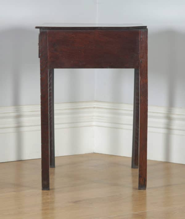 Antique English 18th Century Georgian Oak & Mahogany Occasional Side Hall Writing Table (Circa 1790) - yolagray.com