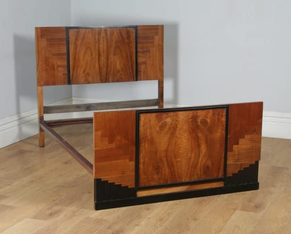 "Antique English Art Deco Figured Walnut 4ft 6"" Double Size Bed (Circa 1930) - yolagray.com"