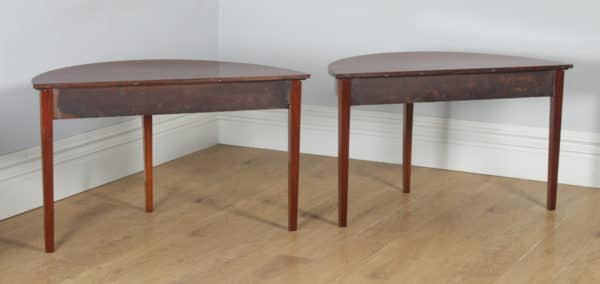 Antique English Georgian Mahogany Round Extendable Ten Seat D End & Drop Leaf Dining Table (Circa 1800) - yolagray.com