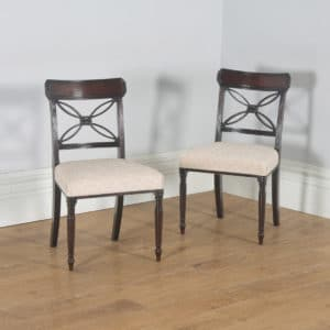 Antique English Pair of Two Georgian Regency Mahogany Bar Back Dining Side Chairs (Circa 1820) - yolagray.com