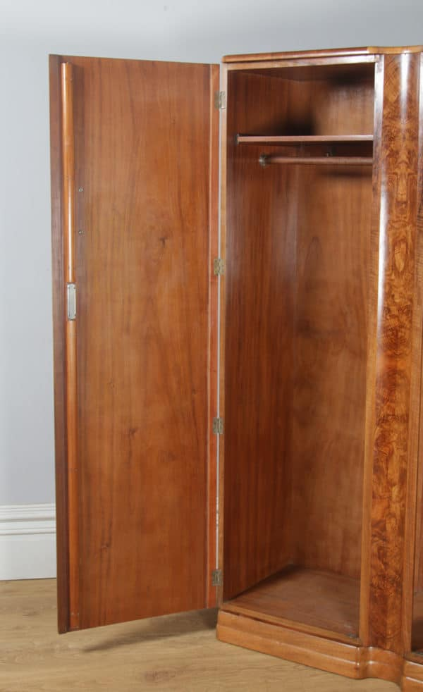 Antique English Art Deco Burr Walnut Three Piece Bedroom Suite by Ray & Miles of Liverpool Incorporating Wardrobe, Tallboy Chest of Drawers & Bedside Cabinets (Circa 1930) - yolagray.com