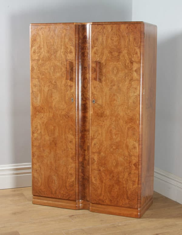 Antique English Art Deco Burr Walnut Two Door Armoire Wardrobe by Ray & Miles of Liverpool (Circa 1930) - yolagray.com