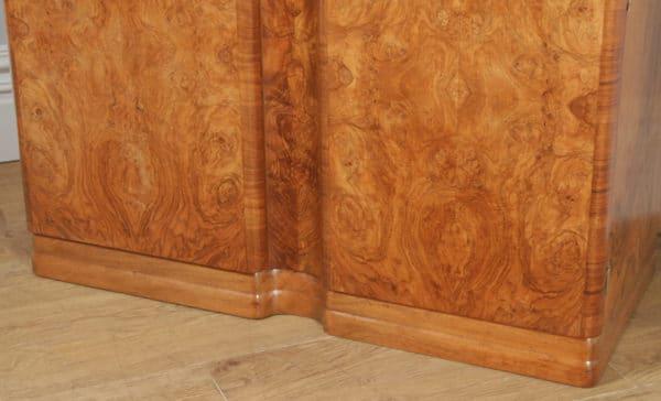 Antique English Art Deco Burr Walnut Two Door Armoire Wardrobe by Ray & Miles of Liverpool (Circa 1930) - yolagray.com