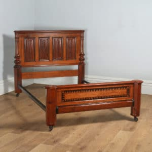 "Antique English Victorian Gothic Pitch Pine & Ebony 4ft 6"" Double Size Bed (Circa 1890) - yolagray.com"