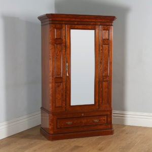 Antique English Victorian Gothic Pitch Pine Wardrobe Cupboard Linen Press (Circa 1890) - yolagray.com